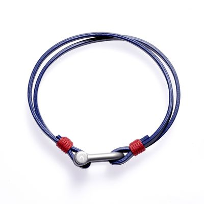 Armband Clasp leather blue red