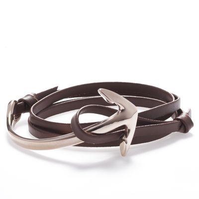 Bracelet Leather Wrap Anchor brown Bild 1