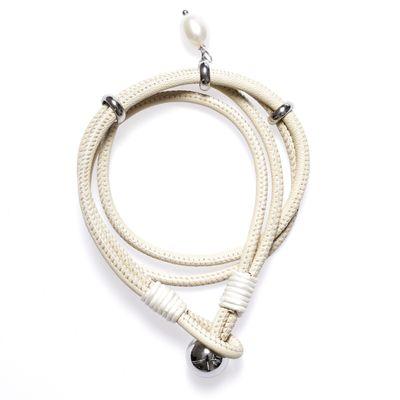 Wickellederarmband white silver Bild 1