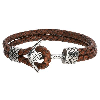 Armband Maritim Anchor leather brown silver