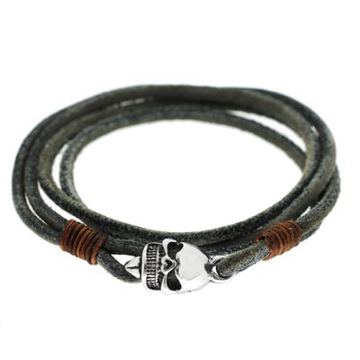 Grey Leather Wrap Skull Bild 1