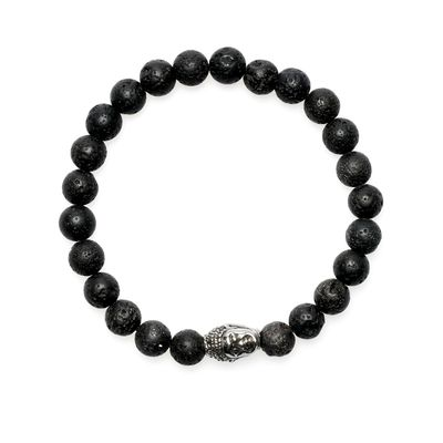 Bracelet Lava Bead Buddha black silver