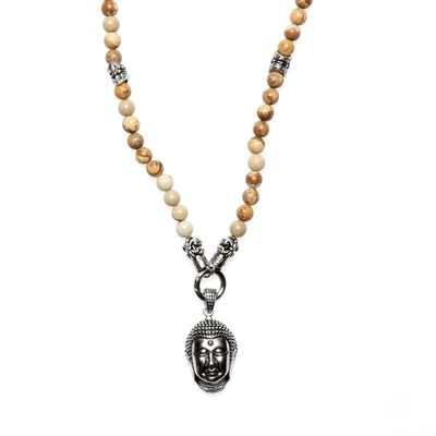 Necklace Jaspis Bead Buddha brown silver