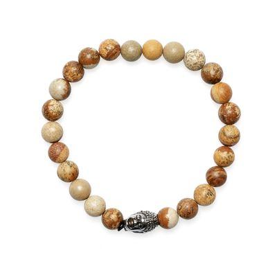Bracelet Jaspis Buddha brown silver