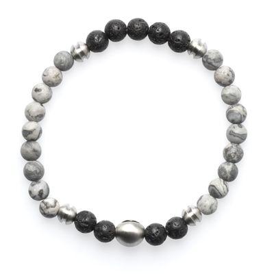 Bracelet Lava Bead Anchor silver grey black
