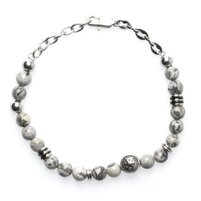Bracelet Achat Bead Anchor silver grey