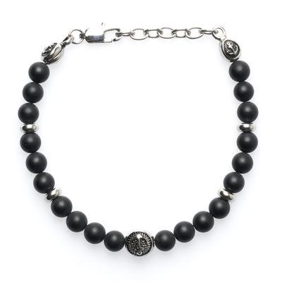 Bracelet Lava Bead Anchor silver black