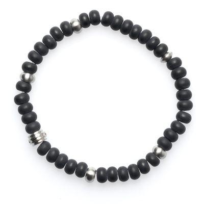 Bracelet Lava Bead silver black
