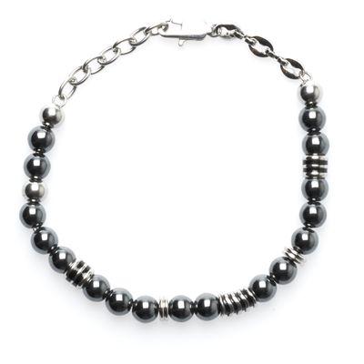 Bead Bracelet Hematite grey silver Bild 1