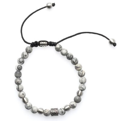 Bead Bracelet Achat grey silver