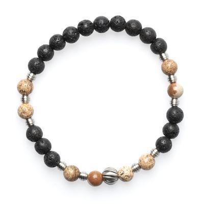 Bracelet Lavabead black brown silver
