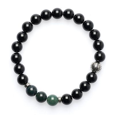 Bead Bracelet Onyx black silver