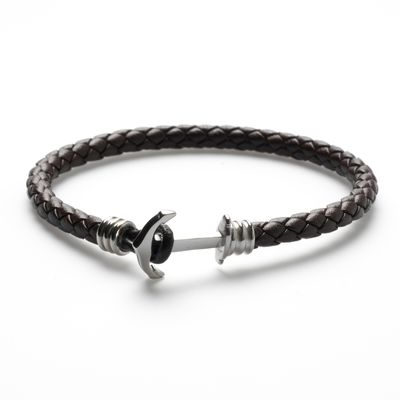 Leather Bracelet Anchor black silver Bild 1