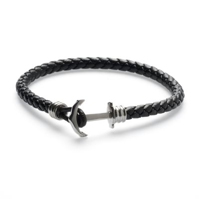 Leather Bracelet Anchor brown silver