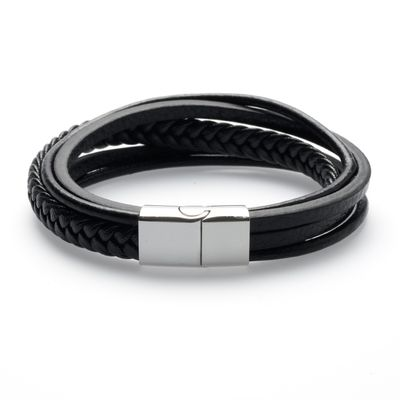 Leather Bracelet black silver