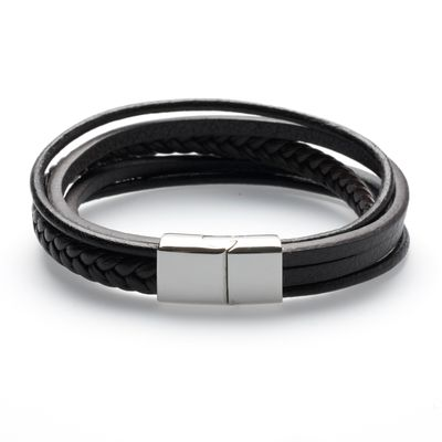 Leather Bracelet brown silver