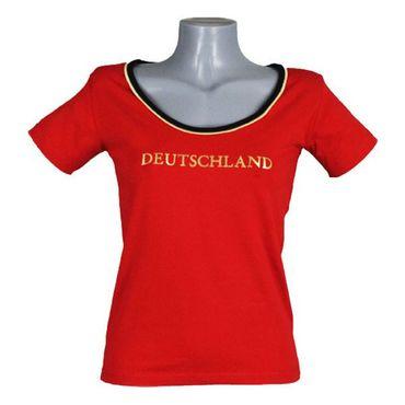 T-Shirt Damen hochwertig Deutschland Germany Damen rot Gr. S - 2XL - Fanshirt Fanartikel Fanshop Fußball WM EM Germany