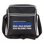Schultertasche ausgelacht und beschimpft - Hamburg - Egal was kommt, ich bleibe Fan schwarz - Hamburg Hamburger Fußball Tasche Fanartikel