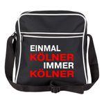 Schultertasche Einmal Kölner, immer Kölner schwarz - Köln Kölner Fußball Tasche Fanartikel