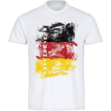 T-Shirt Grunge Design Deutschland Fahne mit Adler Kinder weiß Gr. 128 – 164 - Fanshirt Fanartikel Fanshop Fußball WM EM Germany
