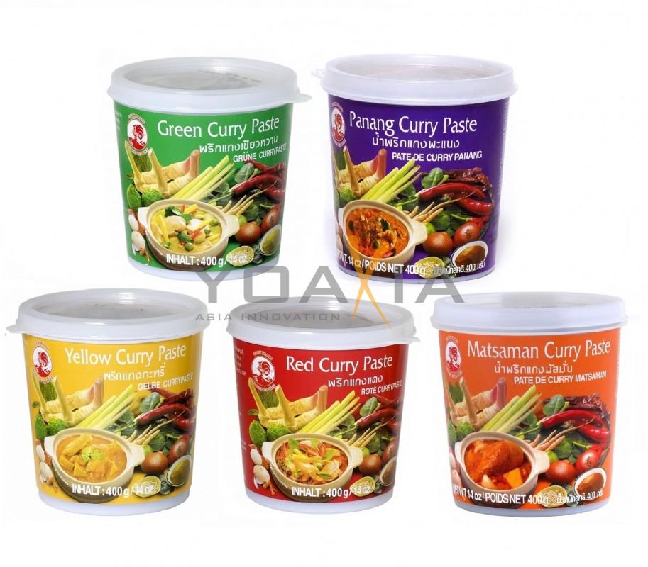 [ 5x 400g ] COCK Curry Paste je 1x 400g Rote, Gelbe, Grüne, Panang, Matsaman