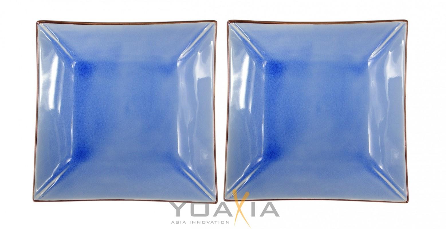 [ bleu ] 2x Keramik- Teller / Sushi-Teller / Obstschale 23 cm x 23 cm