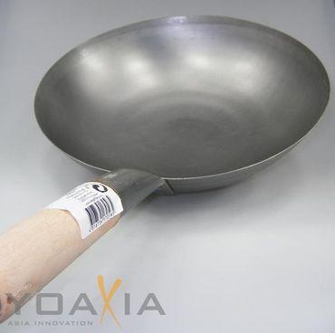 [ Wok Ø 35 cm runder Boden ] Asiatische Eisenpfanne / Küchen Wok / Pfanne  KV