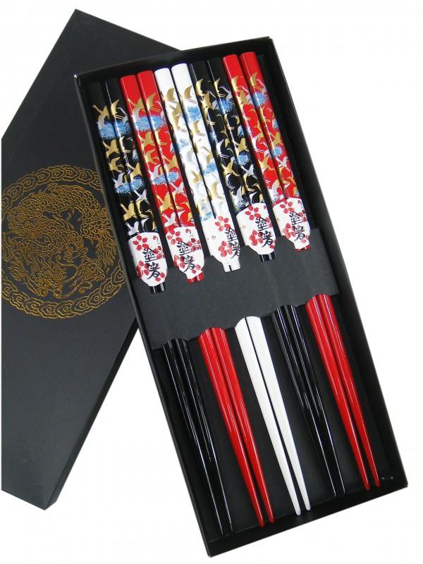 [ 5 Paar ] Essstäbchen Geschenkset [ Design KRANICH ] aus Bambus, lackiert / Chopsticks