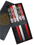 [ 5 Paar ] Essstäbchen Geschenkset [ Design KRANICH ] aus Bambus, lackiert / Chopsticks 001
