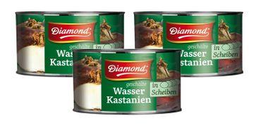 [ 3x 227g / 142g ATG ] DIAMOND Wasserkastanien in Scheiben