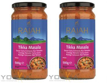 [ 2x 500g ] RAJAH [ Tikka Masala ] Cremige Tomaten Currysauce mittelscharf