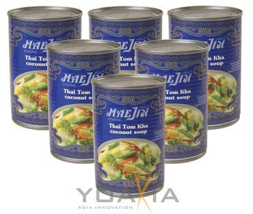 [ 6x 398ml ] MAEJIN Thailändische Tom Kha Kokossuppe / Thai Tom Ka Soup