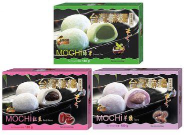 [ 3x 180g ] Mochi 3 Sorten Klebreiskuchen Grüner-Tee- /Rote Bohnen-/ Taro-Geschmack je 180g