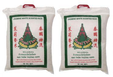 [ 2x 10kg ] ROYAL THAI Langkorn Duftreis (ganz) DE LUXE / Jasmin White Scented Rice