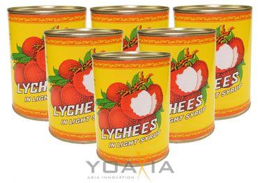 [ 6x 567g/ 227g ATG ] Litschi leicht gezuckert, geschält, ohne Kern / Lychees in Syrup