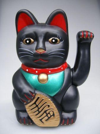 15 cm Glückskatze ~ Winkekatze Maneki Neko ~ SCHWARZ ~ Feng Shui Glücksbringer
