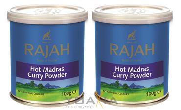 [ 2x 100g ] RAJAH Scharfes Madras Curry Pulver / HOT Madras Curry Powder