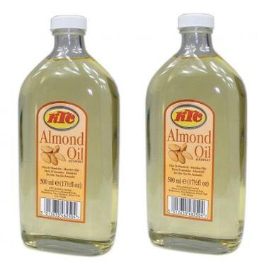 [ 2x 500ml ] KTC Mandelöl / Speiseöl und für die Körperpflege / PURE ALMOND OIL