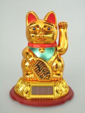 [ GOLDFARBEN ] SOLAR - Glückskatze 10cm / Winkekatze / Feng Shui / Maneki Neko