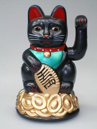 11 cm Glückskatze SCHWARZ / Winkekatze / Maneki Neko