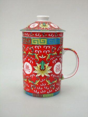 [ ARABESQUE ROT ] chinesisches Porzellan / Teebecher + Sieb & Deckel / Becher / Mug