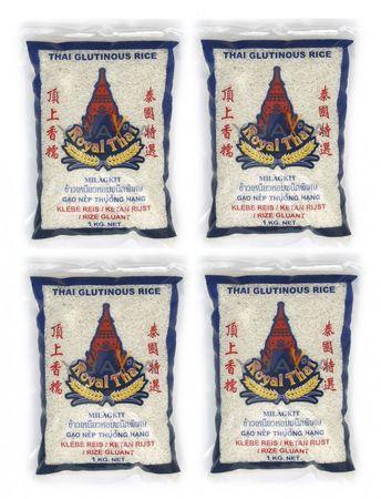 [ 4x 1kg ] ROYAL THAI Klebreis / Klebe Reis / Klebereis / Glutinous Rice THAILAND