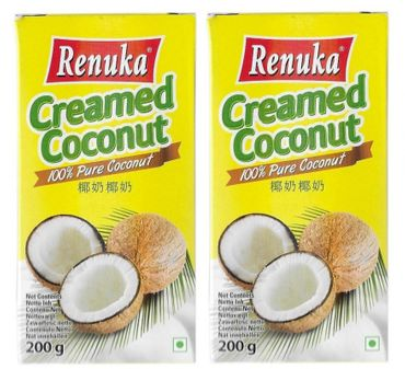 [ 2x 200g ] RENUKA 100% Pure Kokosnusscreme Kokoscreme Creamed Coconut