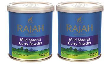 [ 2x 100g ] RAJAH Mildes Madras Curry Pulver / MILD Madras Curry Powder
