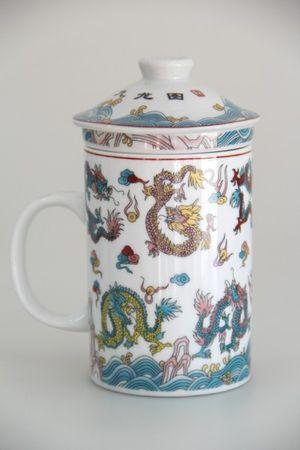 [ NEUN DRACHEN ] Teebecher mit Sieb & Deckel Ø 7,5cm H 14cm / Becher / Mug