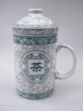 [ Schriftzeichen TEE 茶 ] Teebecher mit Sieb & Deckel Ø7,5cm H14cm / Becher / Mug
