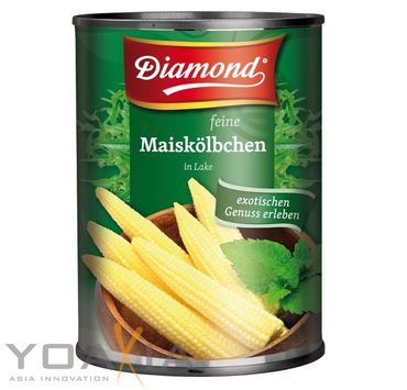 [ 3x 425g / 225g ATG ] DIAMOND feine Maiskölbchen in Lake / Baby Mais