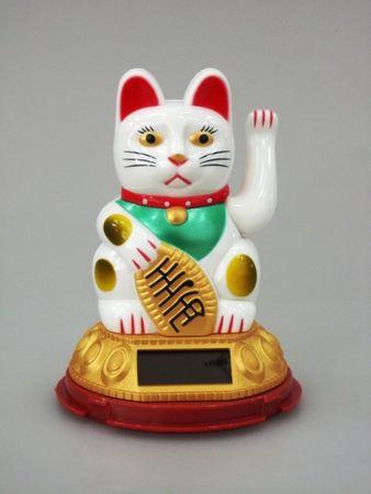 [ WEIß ] SOLAR - Glückskatze 11cm / Winkekatze / Feng Shui / Maneki Neko