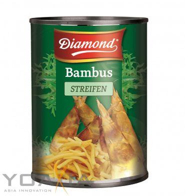 [ 565g / 300g ATG ] DIAMOND Bambussprossen, Streifen / Bambus Streifen