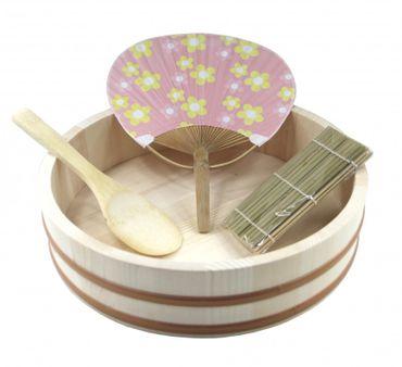 Hangiri Holzschüssel für Sushi Reis Ø 30 cm Holzbottich 4-tlg.-Set Geschenkidee